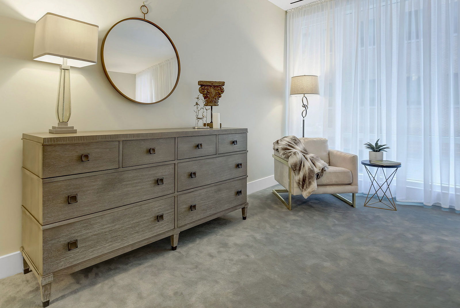 model-staging-walnut-pa-bedroom-interior-design-dreser-and-mirror